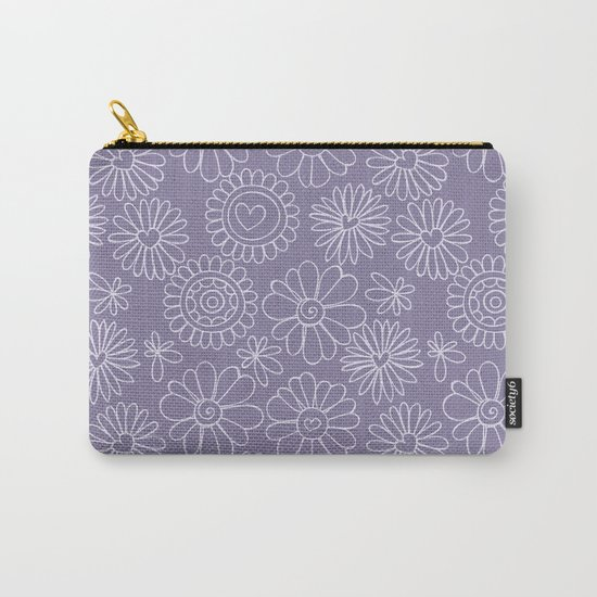 Violet doodle floral pattern Carry-All Pouch