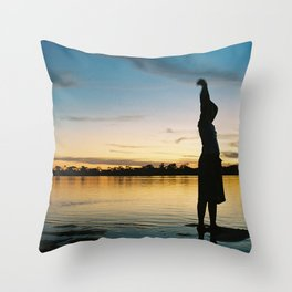 Female Body in the Amazon River Throw Pillow