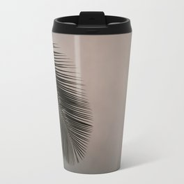 Minimalistic palm leaf silhouette against cloudy and colorful sky Travel Mug