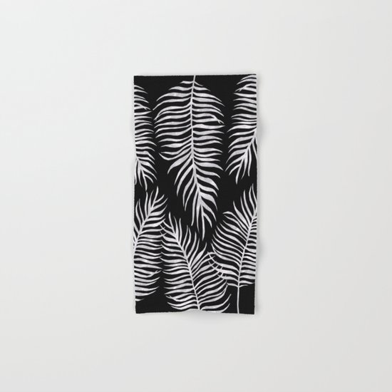Fern Pattern Black And White Hand & Bath Towel