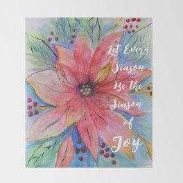 "Pretty watercolor poinsettia ""Let every season be the season of joy"" quote Throw Blanket"