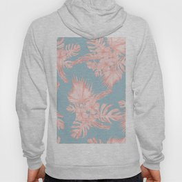 Tropical Palm Leaves Hibiscus Coral Blue Hoody