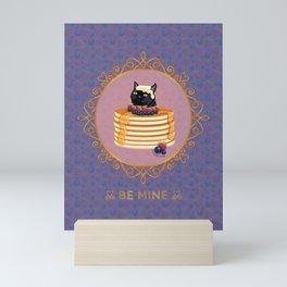 Black Cat Blueberry Pancake Valentine Mini Art Print
