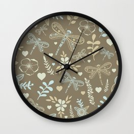Hand drawing graphic dragonfly nature pattern Wall Clock