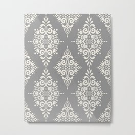 Modern Floral Damask Pattern – Neutral Medium Gray and Light Beige Metal Print