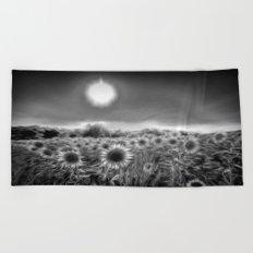 Monochrome Moonlight Sunflowers Beach Towel