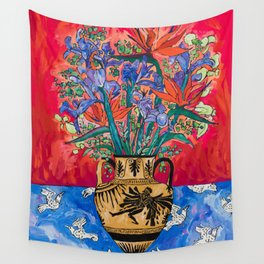 Icarus Floral Still Life Painting with Greek Urn, Irises and Bird of Paradise Flowers Wall Tapestry