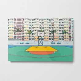 Ball is life - Baseball court Palmtrees Metal Print