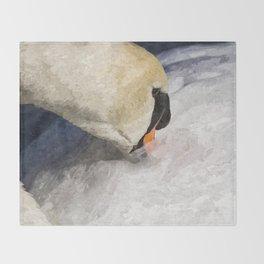The Proud Swan Art Throw Blanket