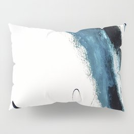 Reykjavik: a pretty and minimal mixed media piece in black, white, and blue Pillow Sham
