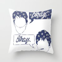 tfios Throw Pillows featuring OKAY?OKAY THE FAULT IN OUR STARS TFIOS HAZEL AUGUSTUS CLOUDS SPEECH BUBBLES by monalisacried