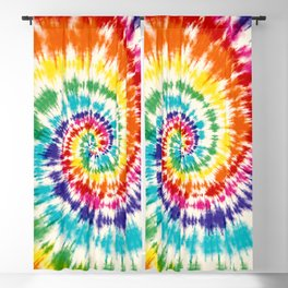 colorful rainbow spiral tie dye Blackout Curtain