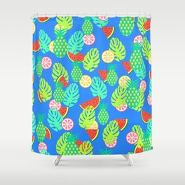 Watermelons and pineapples in blue Shower Curtain