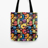 monster Tote Bags featuring Monster Faces Pattern by Chris Piascik