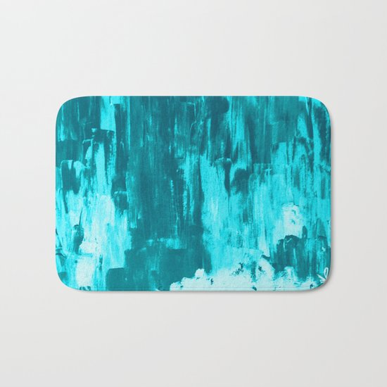 Bright Blue Snow Nights with Icicles Bath Mat