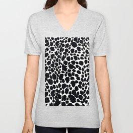 Animal Print Cheetah Black and White Pattern #4 Unisex V-Neck