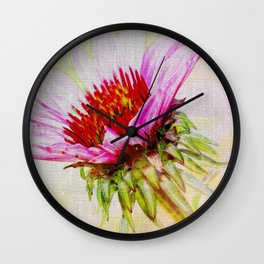 Dreamy Pink Coneflower Wall Clock