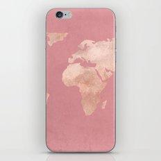 Rosegold World Map Sans Type iPhone Skin