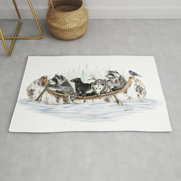 """"""" Critter Canoe """" wildlife rowing up river Rug"""