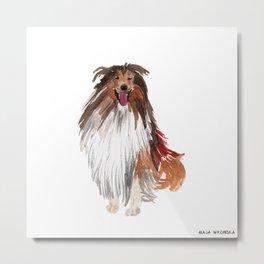watercolor dog vol1 collie Metal Print