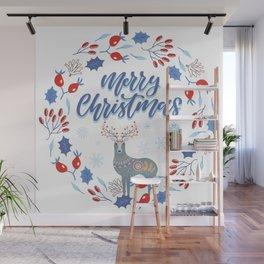 Merry Christmas Scandinavian Deer and Floral Wreath Wall Mural