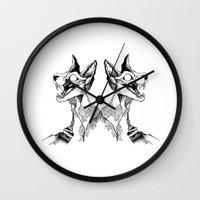 evil queen Wall Clocks featuring evil queen by vasodelirium