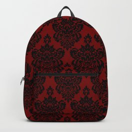 Crimson and Black Damask Backpack