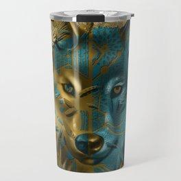 wolf art decor gold Travel Mug