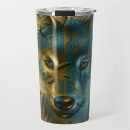 wolf art decor gold Travel Mug