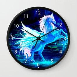 Unicorn Forest Stars Cristal Blue Wall Clock