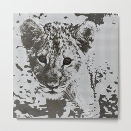Urban Pop Art lion cub Metal Print