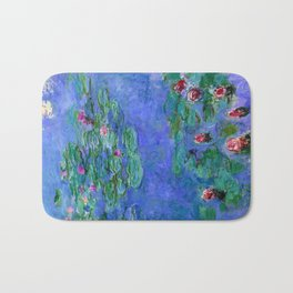 Claue Monet Waterlilies Red Bath Mat