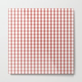 Camellia Pink and White Gingham Check Plaid Metal Print