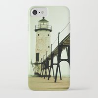 calm iPhone & iPod Cases featuring Manistee Light by Olivia Joy StClaire