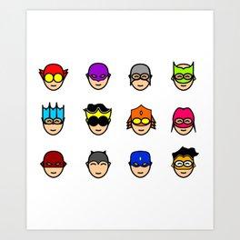 Teen Superhero Faces Art Print