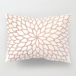 Mandala Flower Rose Gold on Cream Pillow Sham