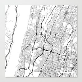 Yonkers Map, USA - Black and White Canvas Print