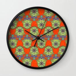 Colorful  Hamsa Hand pattern with paisley Wall Clock