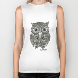 Zentangle Owl Fineliner Pen Drawing Biker Tank