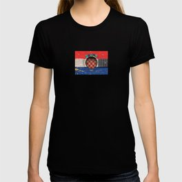 Old Vintage Acoustic Guitar with Croatian Flag T-shirt
