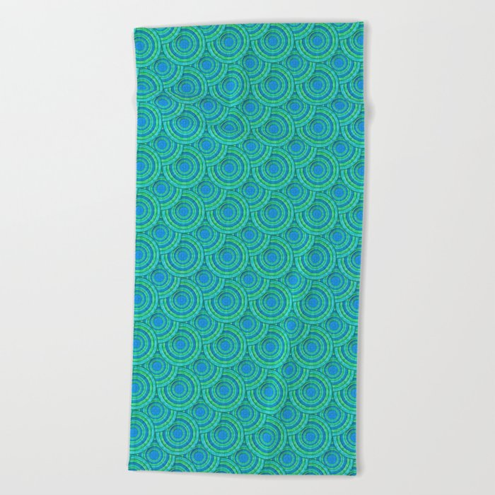 Teal Parasols Pattern Beach Towel