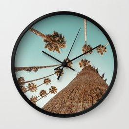{1 of 2} Hug a Palm Tree // Tropical Summer Teal Blue Sky Wall Clock