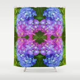 BLUE & PINK HYDRANGEAS GARDEN ABSTRACT FLORAL Shower Curtain