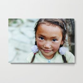 Tibetian cheeks | from Faces of Nepal Metal Print