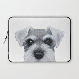 Schnauzer Grey&white, Dog illustration original painting print Laptop Sleeve