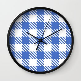 Plaid Pattern Blue Wall Clock