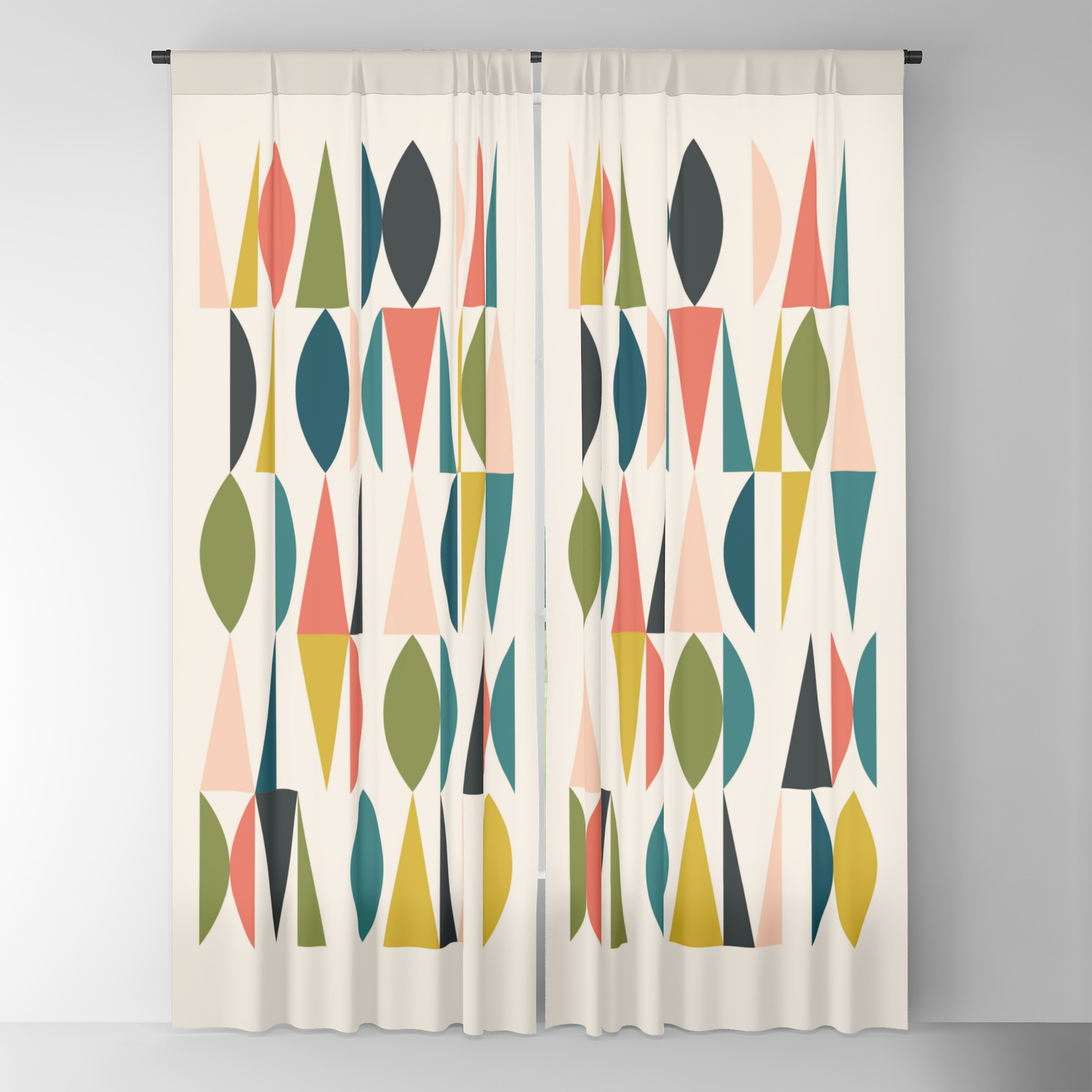 Mid Century Modern Abstract Colorful Shapes Funky Cool Minimalist Pattern Blackout Curtain By Enshape Society6