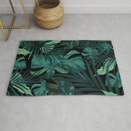 Tropical Jungle Night Leaves Pattern #1 #tropical #decor #art #society6 Rug
