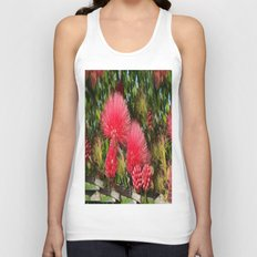Wild fluffy red flowers Unisex Tank Top