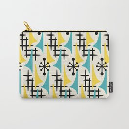 Mid Century Modern Atomic Wing Composition Turquoise & Yellow Carry-All Pouch